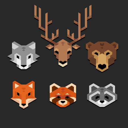 Stylized geometric animal heads wolf deer bear fox red panda raccoon in clean minimalistic style.