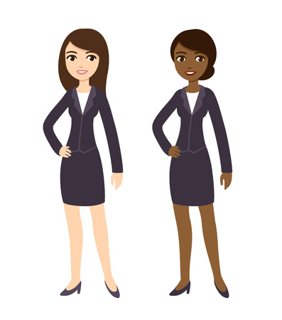 african woman at work: Two cartoon young businesswomen of different ethnicities in formal clothes. Isolated on white background.