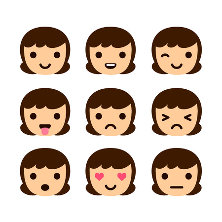 laugh emoticon: Set of 9 human emoticons. Very simple but expressive cartoon female faces. Modern flat vector style.