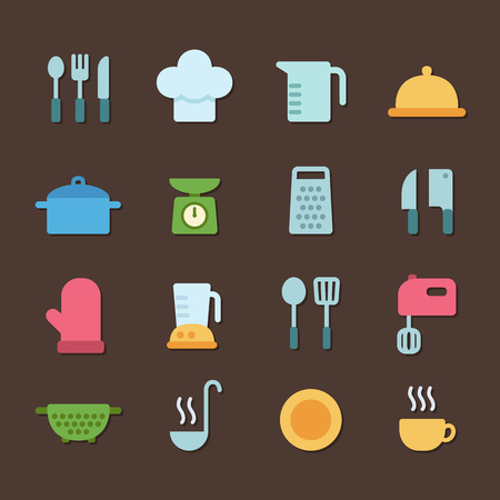 utencils: Set of colorful flat icons featuring various kitchen utencils and cooking related objects.
