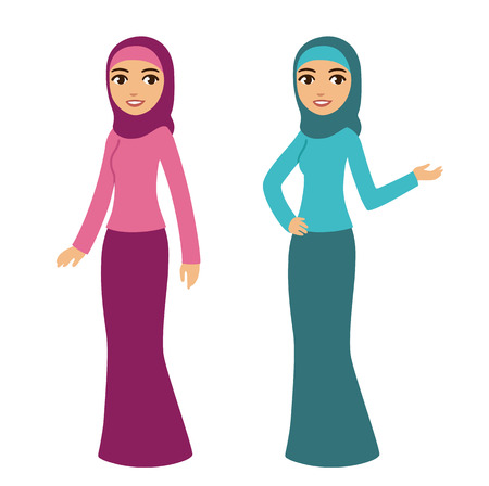Jonge mooie cartoon-stijl moslim vrouw in traditionele kleding op een witte achtergrond. Twee poses en kleuren.