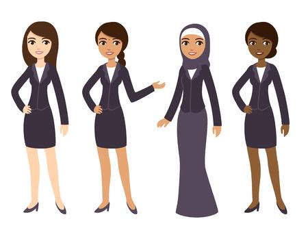 oficina: Cuatro dibujos animados jóvenes empresarias de diferentes etnias en ropa formal. Aislado en el fondo blanco.