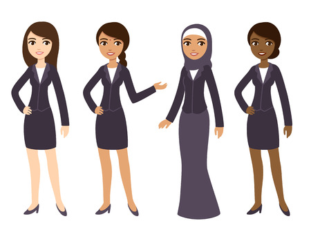 Four cartoon young businesswomen of different ethnicities in formal clothes. Isolated on white background.