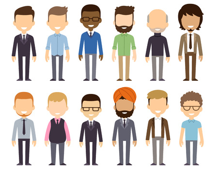 grupos de personas: Conjunto de diversos hombres de negocios aislados sobre fondo blanco. Nacionalidades y estilos de vestir diferente. Estilo de dibujos animados plana lindo y simple.