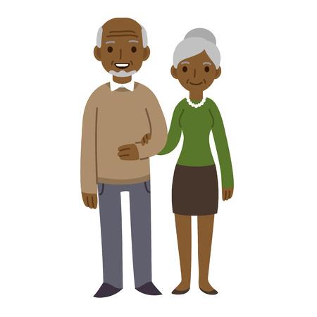 pareja enamorada: Historieta linda pareja de ancianos aislados en fondo blanco.