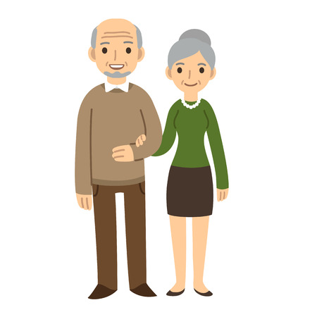 together standing: Cute cartoon senior couple isolated on white background.