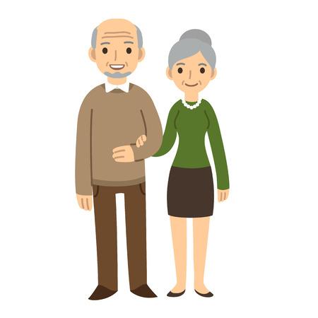 abuelos: Historieta linda pareja de ancianos aislados en fondo blanco.