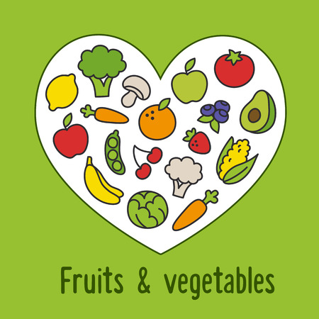 Healthy food pattern: colorful cartoon fruits and vegetables arranged in a heart shape. Vector