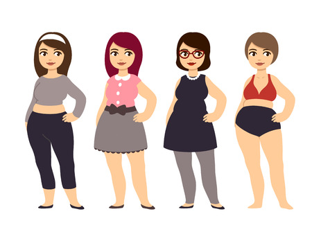 overweight: Plus size fashion. Young and pretty cartoon style girl wearing cute clothes. Illustration