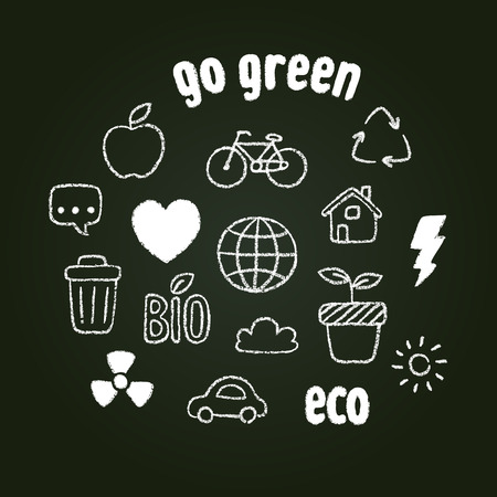 Hand drawn doodle style ecology themed symbols in chalk on blackboard. Vector