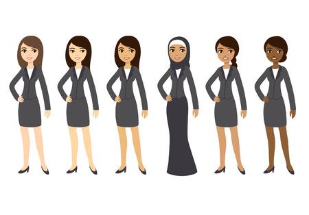 Seis dibujos animados jóvenes empresarias de diferentes etnias en ropa formal. Aislado en el fondo blanco.