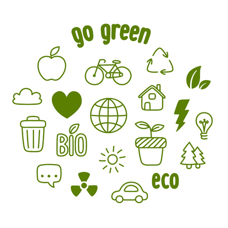 themed: Hand drawn doodle style ecology themed symbols isolated on white background.