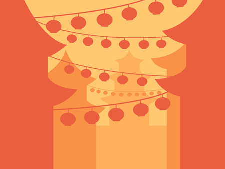 chinatown: Simple chinese street scene in bright warm colors. Illustration