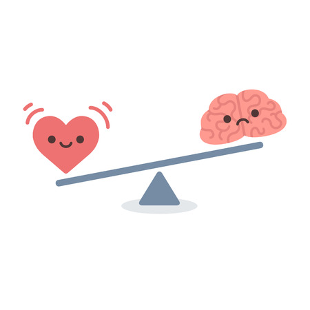 Illustration of the concept of balance between logic and emotion. Cartoon brain and heart with cute faces on a scale. Simple and modern flat vector style isolated on white background. Vector