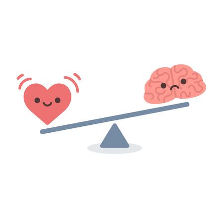 logica: Ilustraci�n del concepto de equilibrio entre la l�gica y la emoci�n. Cerebro de la historieta y el coraz�n con las caras lindas en una escala. Estilo vector plana simple y moderno aislado sobre fondo blanco.