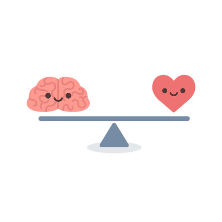 Illustration of the concept of balance between logic and emotion. Cartoon brain and heart with cute faces on a scale. Simple and modern flat vector style isolated on white background. Ilustração