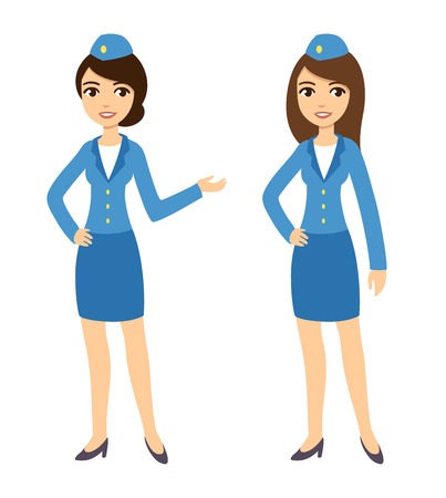 Two young attractive cartoon air hostesses in blue uniform isolated on white background. Stock Illustratie
