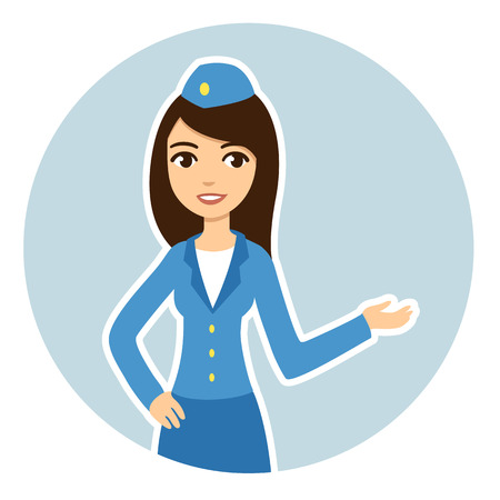 Young and pretty brunette air hostess in blue uniform in a circle.