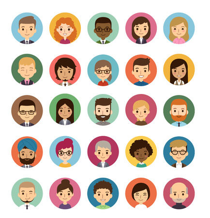 Set of diverse round avatars isolated on white background. Different nationalities, clothes and hair styles. Cute and simple flat cartoon style. Ilustração