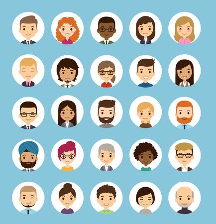 razas de personas: Conjunto de diversos avatares redondas. Diferentes nacionalidades, ropa y peinados. Estilo de dibujos animados plana lindo y simple.