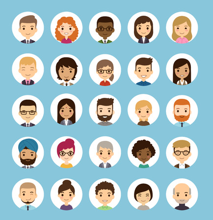 Set of diverse round avatars. Different nationalities, clothes and hair styles. Cute and simple flat cartoon style. Çizim
