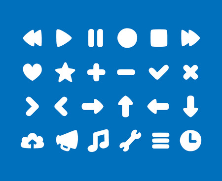 subtly: Set of multi-purpose rounded interface icons for web or app. Subtly irregular, hand drawn feel.