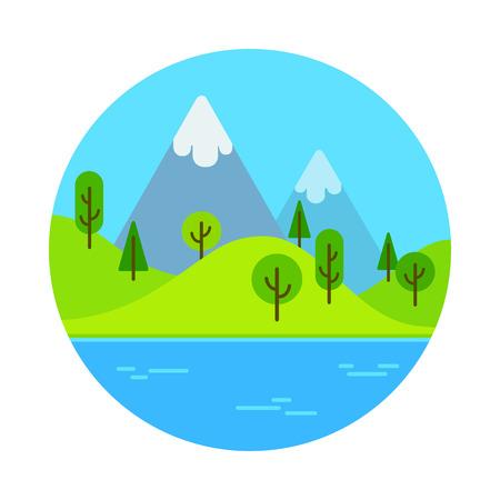 Flat cartoon landscape scene with mountain near lake. Ilustrace