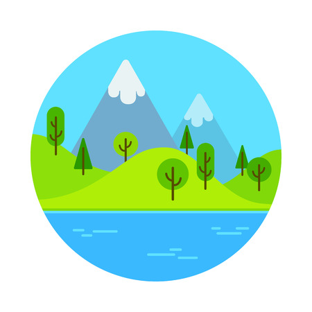 Flat cartoon landscape scene with mountain near lake. Illustration