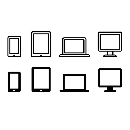Set of electronic device icons: smartphone, tablet, laptop and desktop computer. Two styles - thin line and flat solid color. Ilustração
