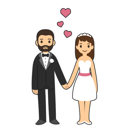 Happy wedding couple holding hands with hearts above.
