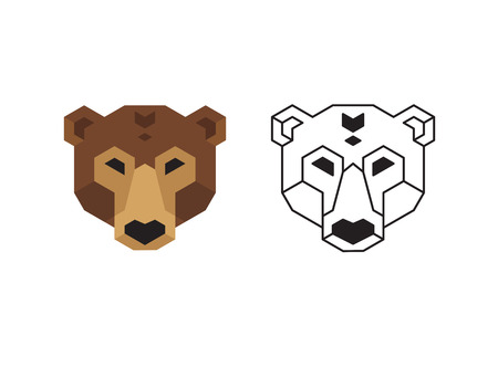 low prizes: Stylized polygonal bear head in two variants: flat colors and black wireframe. Illustration