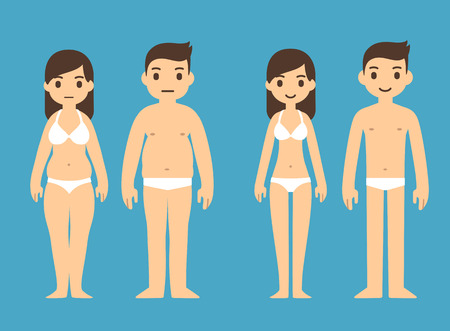 Cute cartoon man and woman in underwear with male and female symbols above. Ilustração
