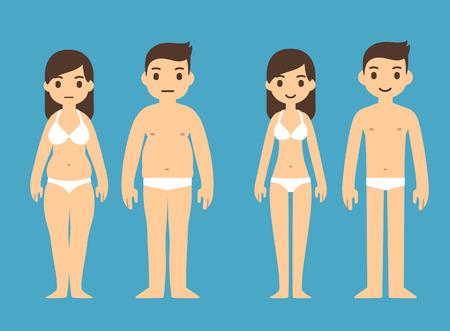 mann unterw�sche: Nette Karikatur Mann und Frau in der Unterw�sche mit m�nnlichen und weiblichen Symbolen oben.