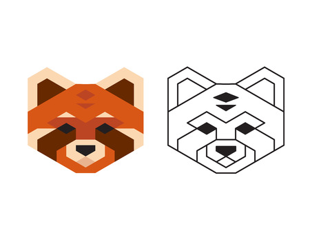 heard: Stylized polygonal red panda heard in two variants: flat colors and black wireframe.