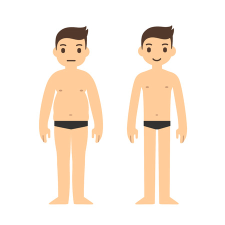 Cute cartoon man in underwear with two body types: overweight and slim. Weight loss before and after illustration.