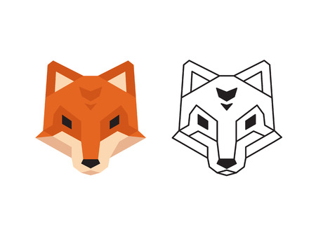 low prizes: Stylized polygonal fox head in two variants: flat colors and black wireframe. Illustration