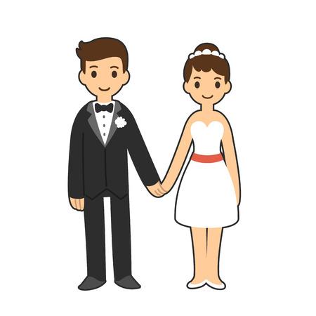 couple holding hands: Happy cartoon wedding couple holding hands.