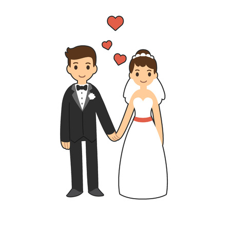 hand heart: Cute cartoon wedding couple holding hands. Illustration