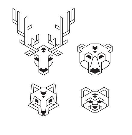 dieren: Gestileerde geometrische dier koppen (herten, beer, wolf of vos en rode panda) in veelhoekige wireframe stijl.