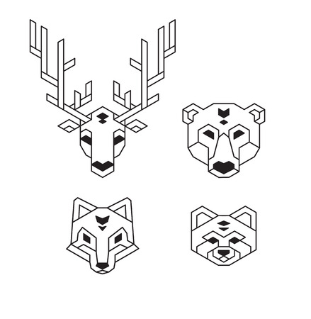 Stylized geometric animal heads (deer, bear, wolf or fox and red panda) in polygonal wireframe style. Vector