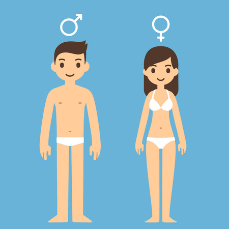 nude male: Cute cartoon man and woman in underwear with male and female symbols above. Illustration