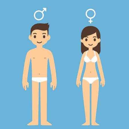 sexo femenino: Hombre de dibujos animados lindo y de la mujer en ropa interior con hombres y mujeres símbolos anteriores.