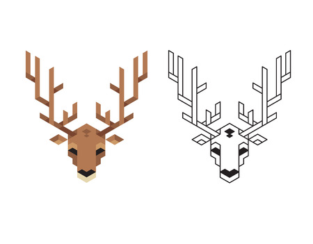 antlers silhouette: Stylized polygonal deer head with antlers in two variants: flat colors and black wireframe.