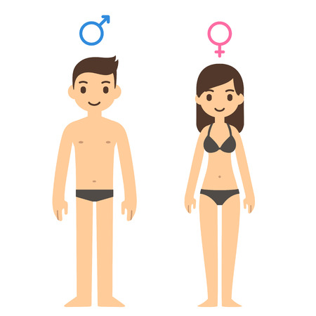 adults sex: Cute cartoon man and woman in underwear with male and female symbols above. Illustration