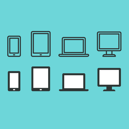 icono computadora: Conjunto de iconos de dispositivos electrónicos: teléfono inteligente, tableta, ordenador portátil y ordenador de sobremesa. Dos estilos - línea delgada y de color sólido plana. Vectores