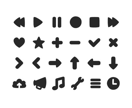subtly: Set of multipurpose rounded interface icons for web or app. Subtly irregular hand drawn feel.