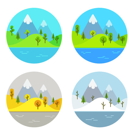and four of the year: Simple flat cartoon landscape scene in four different seasons of the year