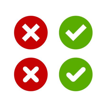 Een set van vier eenvoudige knoppen web: groen vinkje en rood kruis in twee varianten (vierkant en afgeronde hoeken).