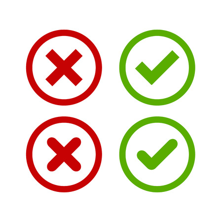 A set of four simple web buttons: green check mark and red cross in two variants (square and rounded corners).