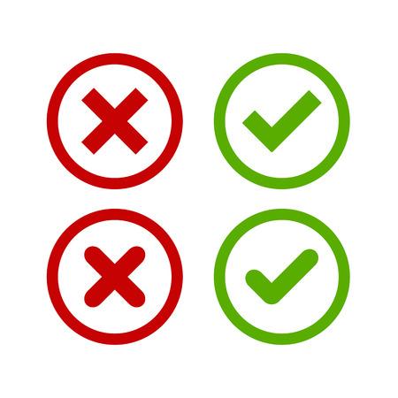 Zestaw czterech prostych internetowych przyciski: zielony znacznik wyboru i czerwony krzyż w dwóch wariantach (kwadratowych i zaokrąglone rogi).
